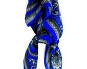 Cobalt Blue Paisley Scarf II