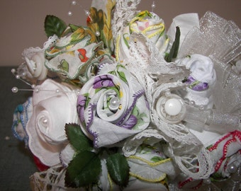 Vintage bridal bouquet with antique handkerchiefs crafted into unique roses