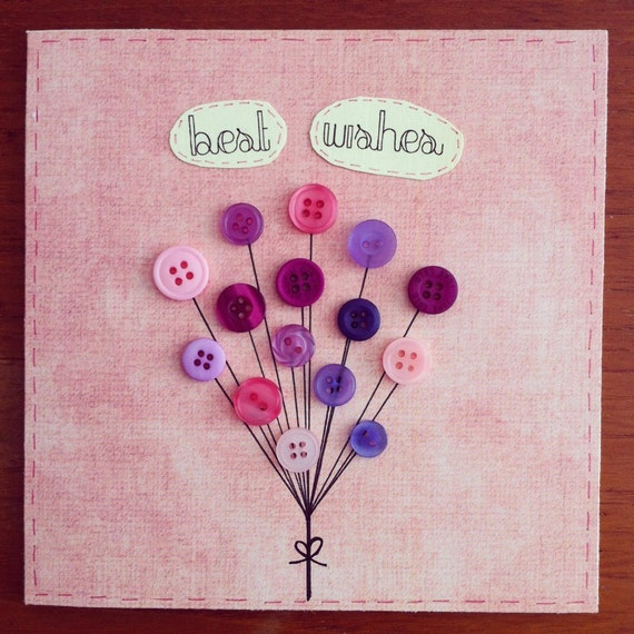 Items similar to Handmade Greeting Card - Button Balloons ...