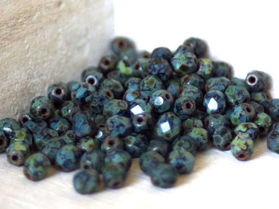 Czech Faceted Glass Beads - 4mm Fire polished Black Picasso
