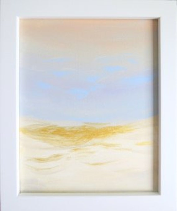ART Original Painting Dunes Beach Painting with Blues, White, Tan and Gold Highlights. Acrylic Painting on Canvas