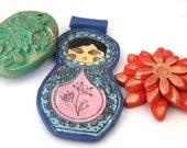Destash polymer clay green blue red matryoshka pendants