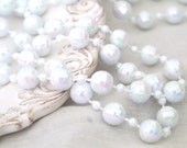 Large white bead necklace for repurpose and altered art