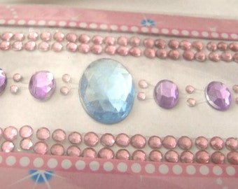 Deco Rhinestone sticker sparkling cell phone bling kawaii pink and pale blue