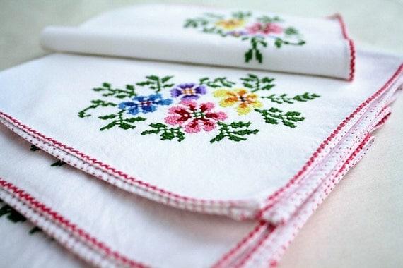vintage napkins set of 6