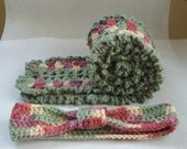 Crochet Scarf and Head Band set / Free Shipping