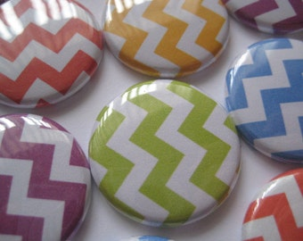"15 Colorful  Chevron Images 1"" flat back buttons"