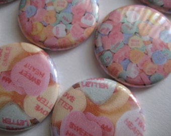 "15 Sweet heart Candy Word Images 1"" Flat OR Pin back buttons"