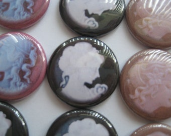 "15 Victorian Cameo lady  Images 1"" flat back buttons"