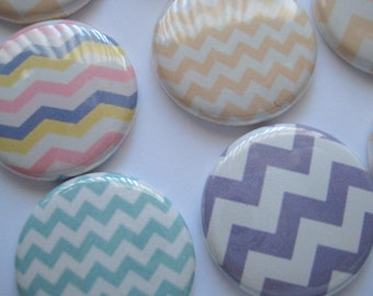 "Pastel Chevron Zig Zag Birthday - Bridal - Baby Shower 1"" pinback buttons - 1"" flat back buttons - Magnets - Hollowbacks for DIY Hair bows"