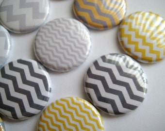 "15 Mustard Yellow and Gray Small & Large Chevron Images 1"" flat back buttons"