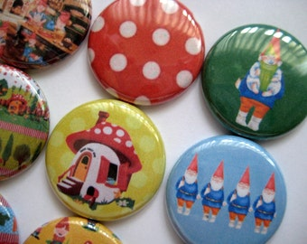 "15 Gnome Village Images 1"" flat back buttons"