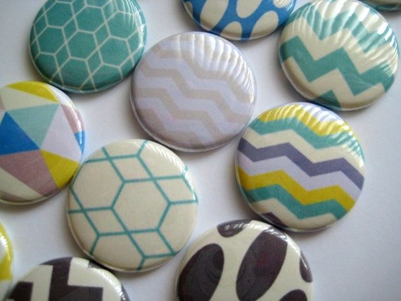"Geometric Chevron Zig Zag Ovals Turquoise Brown and yellow  Images 1"" flat back buttons, Pinback buttons, Magnets, Hollowback , Party Favor"