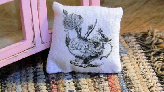 Tea Pot Carnation Pillow - Miniature Pillow Dollhouse Sized