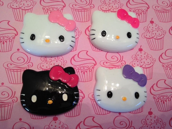 4 piece Hello Kitty Cabochons, Large size