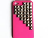Hot Pink Studded cellphone cover, hard case, iPhone Cover, cover for Android,trendy, iPhone 4s, iPhone 4,
