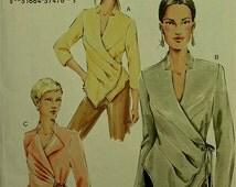 "Vogue Wrap Blouse with Tucks Pattern  7828 Uncut Sizes 6-8-10  Bust 30 1/2-31 1/2- 32 1/2"""