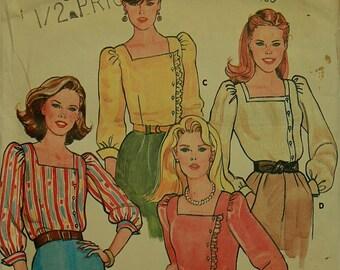 Vintage Ruffled Square Neck Blouse Butterick Pattern 4219  Size 10 Uncut