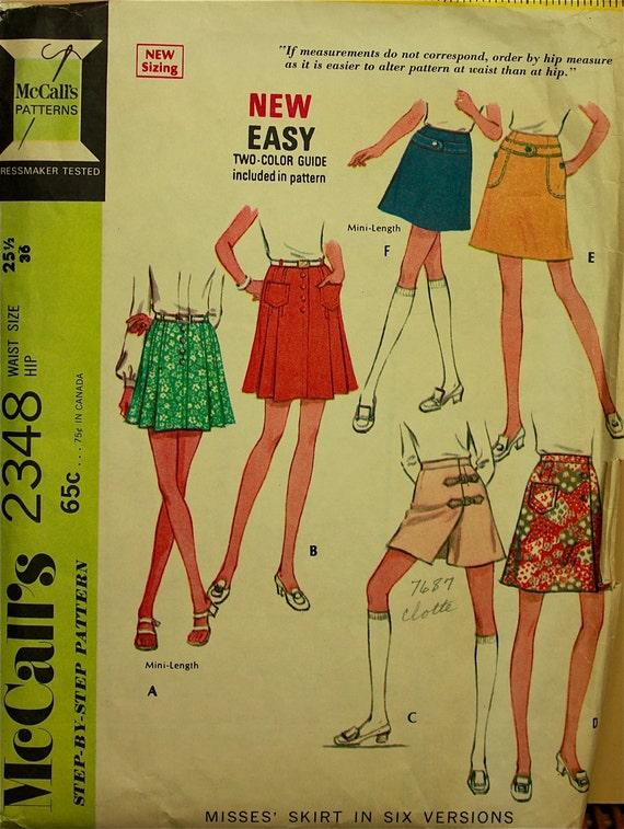 "1970s Skirt, Culotte &  Mini Skirt McCall's Pattern 2348  Waist 25 1/2"""