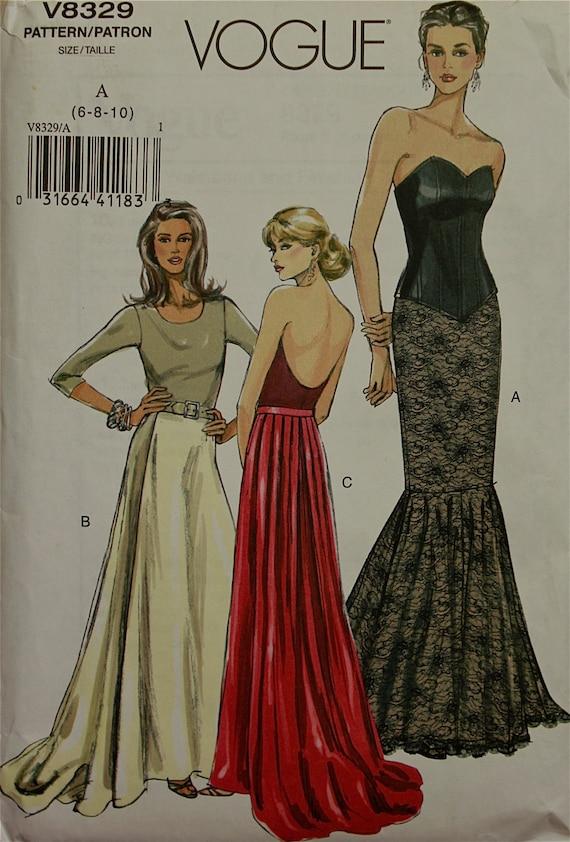 Fishtail Evening Length Skirts Vogue Pattern 8329 Uncut