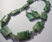 Green Rectangle Necklace and Earrings