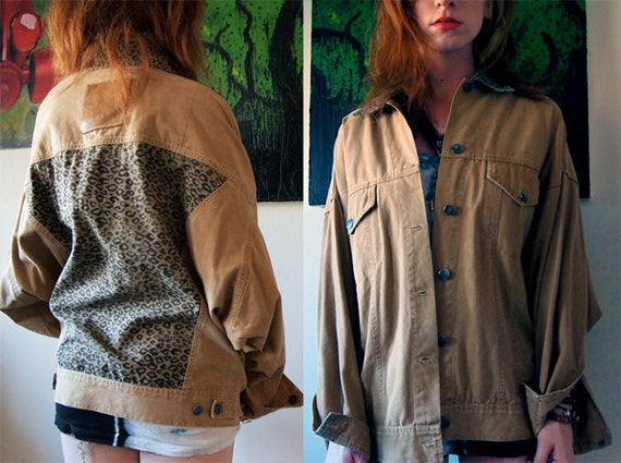 Brown and leopard print denim jacket with G-man comic inside.