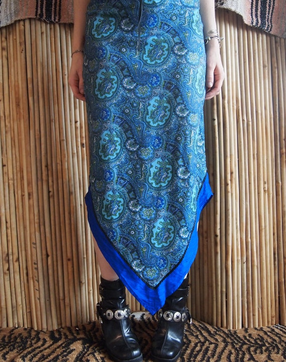 RESERVED - 90s paisley stretch nylon skirt