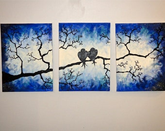 Oringial Canvas Art - Blue Dusk LoveBirds