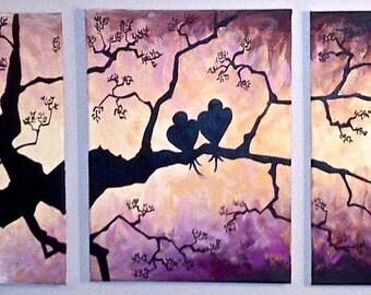 Oringial Canvas Art - Purple SunDusk LoveBirds
