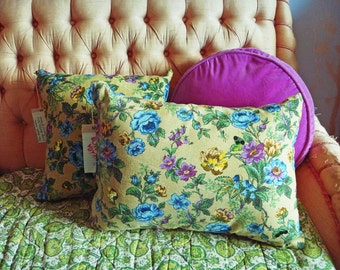 "Vintage Chintz pillow.  Handmade, floral ""Miss Marple"" cushion. Sequin highlights on chintz.  45 x30cm rectangular cushion includes insert."