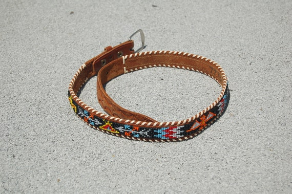 Vintage leather beaded mexican print belt