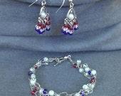 Patriotic Jewelry- Bracelet and Chandelier Earrings Set