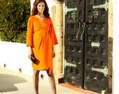 Orange Crepe Maternity Dress