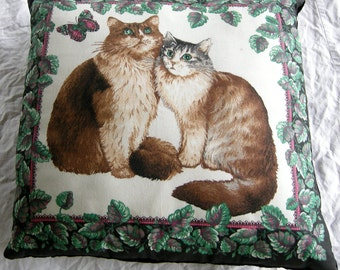 Vintage Hand Crafted Cat Throw Pillow
