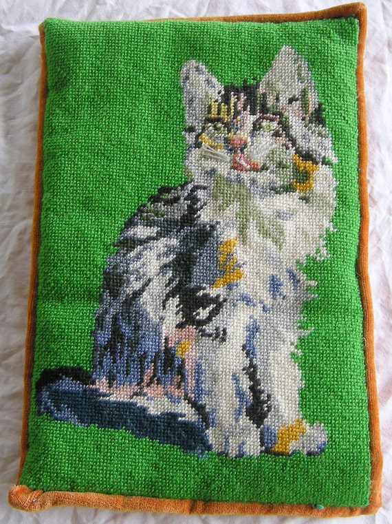 Vintage Hand Crafted Needlepoint Cat Pillow