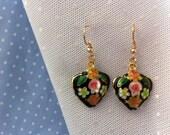 Brass floral dangle earrings