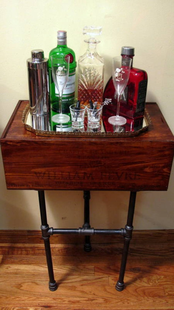Wine Crate Side Table with Sliding Storage - Reserved for Jody