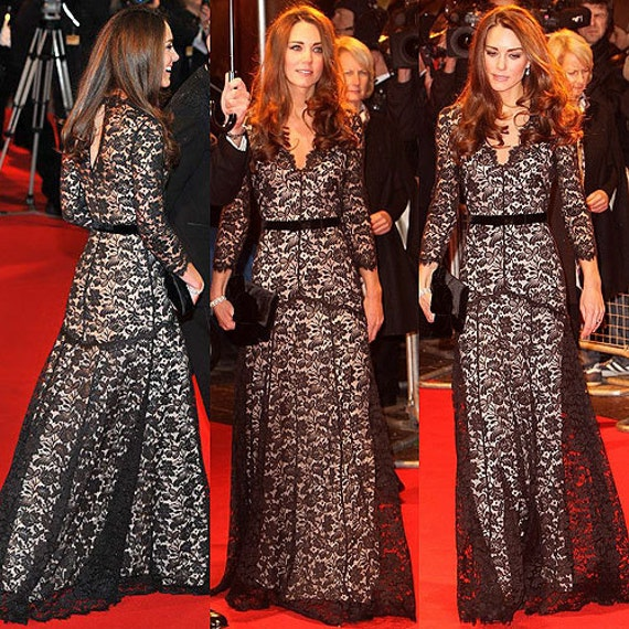 Baylis & Knight Black Nude FRENCH LACE Princess Kate Middleton Royal Long Sleeve Flared Skirt Low Cut MAXI Ball Gown Dress