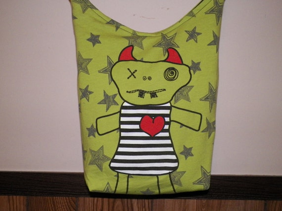 Little Monsters Tote Bag  /  Small Messenger Bag, Recycled t-shirt, OOAK
