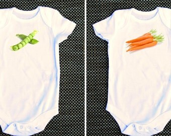 Like peas and carrots funny baby onesie twins siblings matching