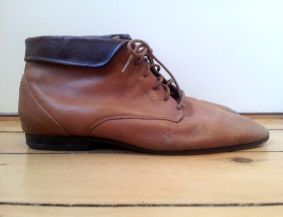 80s Two Tone Brown Leather Cuffed Bootie 9