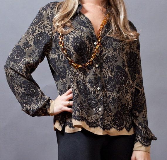 100% silk lace print blouse by Alfani.  Size Medium.