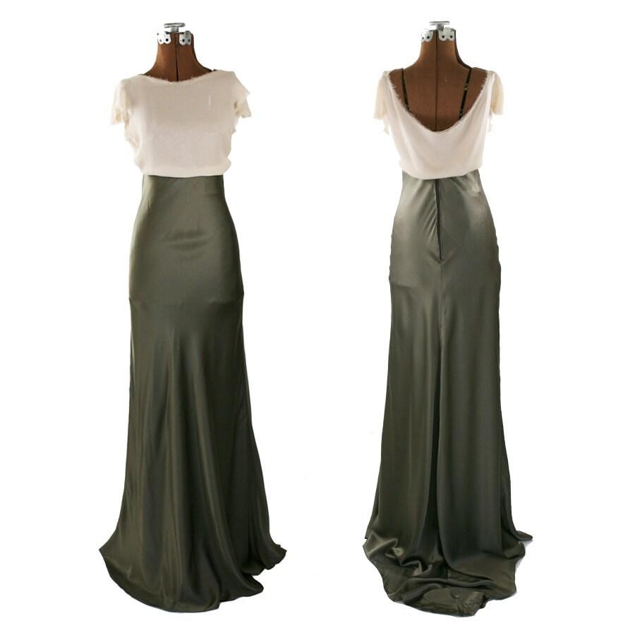 bias cut silk charmeuse maxi skirt olive by godbeyandgant