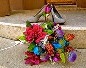 Peacock Purple, Blue, Green Bridal Bouquet & Grooms Boutonniere Package