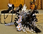 Custom Zebra Print Bridal Bouquet and Grooms Boutonniere with Black and White Accents