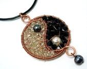 Yin Yang Pendant. Wire wrapped jewelry. Handmade.