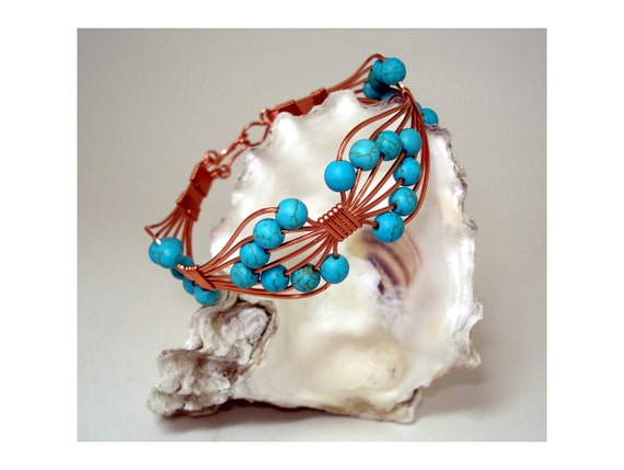 Bracelet with Turquoise. Wire wrapped jewelry. Handmade.