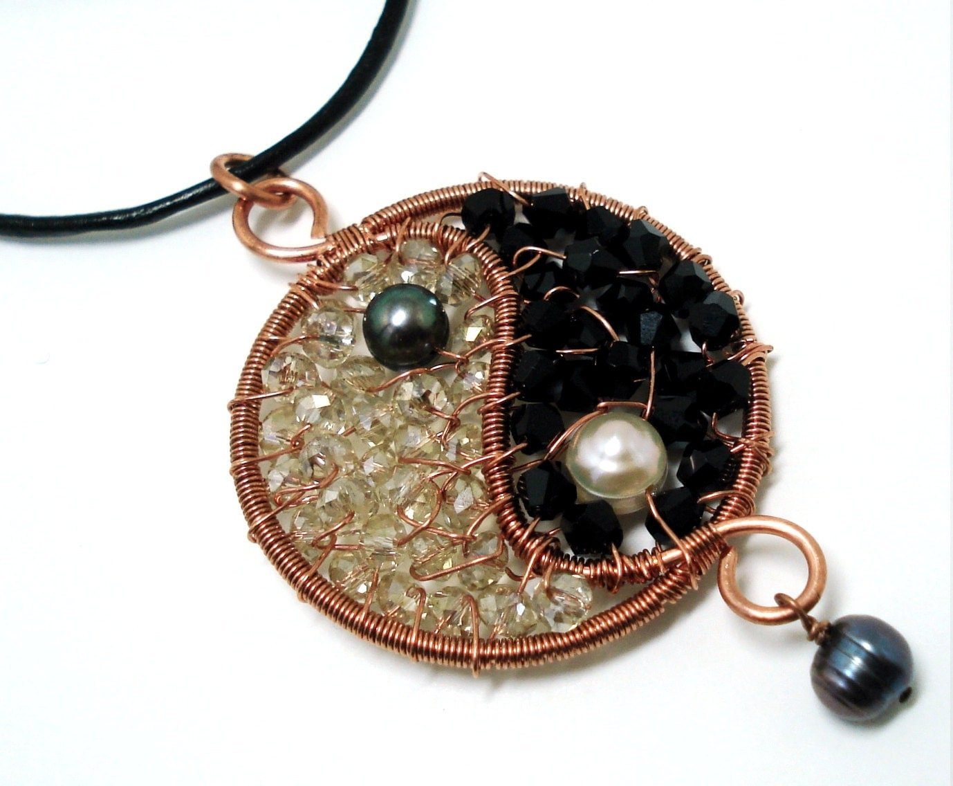 yin yang pendant wire wrapped jewelry handmade