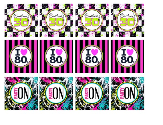 80s Party Cupcake Toppers by AshleysPartyPretties on Etsy