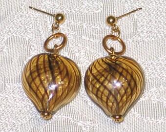 Hand-blown lamp work heart bead earrings